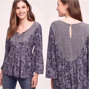 Anthropologie Akemi & Kin Marcella lace up top